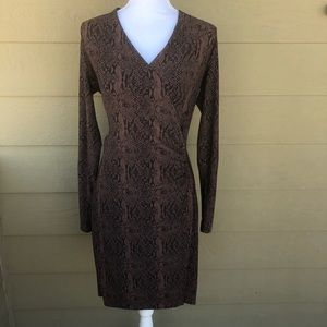 NormaKamali Faux Wrap Dress In Cocoa Python